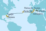 Visitando Civitavecchia (Roma), Toulon (Francia), Palma de Mallorca (España), Cartagena (Murcia), Ponta Delgada (Azores), Nassau (Bahamas), Tampa (Florida)