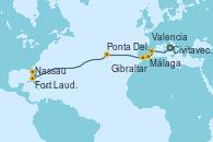 Visitando Civitavecchia (Roma), Valencia, Málaga, Gibraltar (Inglaterra), Ponta Delgada (Azores), Nassau (Bahamas), Fort Lauderdale (Florida/EEUU)