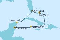 Visitando Fort Lauderdale (Florida/EEUU), Nassau (Bahamas), Gran Caimán (Islas Caimán), Puerto Costa Maya (México), Cozumel (México), Fort Lauderdale (Florida/EEUU)