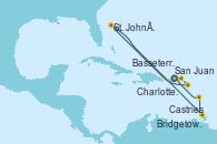 Visitando San Juan (Puerto Rico), Charlotte Amalie (St. Thomas), Basseterre (Antillas), St. John´s (Antigua y Barbuda), Castries (Santa Lucía/Caribe), Bridgetown (Barbados), San Juan (Puerto Rico)