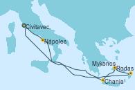 Visitando Civitavecchia (Roma), Nápoles (Italia), Rodas (Grecia), Mykonos (Grecia), Chania (Creta/Grecia), Civitavecchia (Roma)