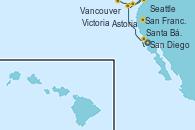 Visitando San Diego (California/EEUU), Santa Bárbara (California), San Francisco (California/EEUU), San Francisco (California/EEUU), Astoria  (Oregón), Seattle (Washington/EEUU), Victoria (Canadá), Vancouver (Canadá)
