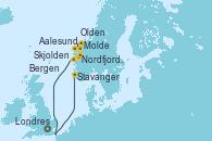 Visitando Londres (Reino Unido), Stavanger (Noruega), Aalesund (Noruega), Molde (Noruega), Nordfjordeid, Olden (Noruega), Bergen (Noruega), Londres (Reino Unido)