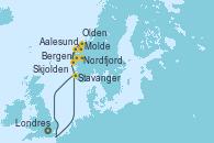 Visitando Londres (Reino Unido), Bergen (Noruega), Aalesund (Noruega), Molde (Noruega), Nordfjordeid, Olden (Noruega), Stavanger (Noruega), Londres (Reino Unido)