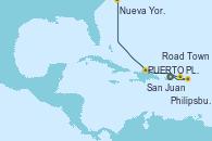 Visitando San Juan (Puerto Rico), Philipsburg (St. Maarten), Road Town (Isla Tórtola/Islas Vírgenes), PUERTO PLATA, REPUBLICA DOMINICANA, Nueva York (Estados Unidos)