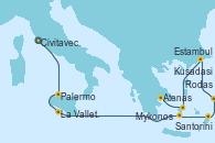 Visitando Civitavecchia (Roma), Palermo (Italia), La Valletta (Malta), Santorini (Grecia), Rodas (Grecia), Kusadasi (Efeso/Turquía), Estambul (Turquía), Mykonos (Grecia), Atenas (Grecia)