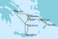 Visitando Atenas (Grecia), Rodas (Grecia), Bodrum (Turquia), Mykonos (Grecia), Paros (Grecia), Heraklion (Creta), Santorini (Grecia), Atenas (Grecia)