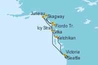 Visitando Seattle (Washington/EEUU), Sitka (Alaska), Icy Strait Point (Alaska), Skagway (Alaska), Fiordo Tracy Arm (Alaska), Juneau (Alaska), Ketchikan (Alaska), Victoria (Canadá), Seattle (Washington/EEUU)