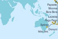 Visitando Papeete (Tahití), Moorea (Tahití), Bora Bora (Polinesia), Pago Pago (Samoa), Lautoka (Fiyi), Dravuni (Fiji), Islas des Pins (Nueva Caledonia), Sydney (Australia)