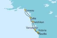 Visitando Seattle (Washington/EEUU), Ketchikan (Alaska), Sitka (Alaska), Juneau (Alaska), Victoria (Canadá), Vancouver (Canadá)
