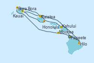 Visitando Papeete (Tahití), Moorea (Tahití), Bora Bora (Polinesia), Raiatea (Polinesia Francesa), Hilo (Hawai), Kahului (Hawai/EEUU), Kauai (Hawai), Kauai (Hawai), Honolulu (Hawai)