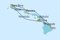 Visitando Papeete (Tahití), Moorea (Tahití), Bora Bora (Polinesia), Raiatea (Polinesia Francesa), Kauai (Hawai), Kauai (Hawai), Hilo (Hawai), Kahului (Hawai/EEUU), Honolulu (Hawai)