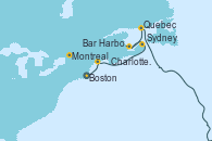 Visitando Boston (Massachusetts), Bar Harbor (Maine), Sydney (Nueva Escocia/Canadá), Charlottetown (Canadá), Quebec (Canadá), Montreal (Canadá)