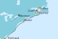 Visitando Montreal (Canadá), Quebec (Canadá), Charlottetown (Canadá), Sydney (Nueva Escocia/Canadá), Boston (Massachusetts), Fort Lauderdale (Florida/EEUU)