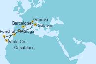 Visitando Málaga, Civitavecchia (Roma), Génova (Italia), Barcelona, Casablanca (Marruecos), Santa Cruz de Tenerife (España), Funchal (Madeira), Málaga
