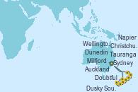 Visitando Sydney (Australia), Milfjord Sound (Nueva Zelanda), Doubtful Sound (Nueva Zelanda), Dusky Sound (Nueva Zelanda), Dunedin (Nueva Zelanda), Christchurch (Nueva Zelanda), Wellington (Nueva Zelanda), Napier (Nueva Zelanda), Tauranga (Nueva Zelanda), Auckland (Nueva Zelanda), Sydney (Australia)