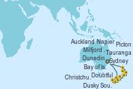 Visitando Sydney (Australia), Milfjord Sound (Nueva Zelanda), Doubtful Sound (Nueva Zelanda), Dusky Sound (Nueva Zelanda), Dunedin (Nueva Zelanda), Christchurch (Nueva Zelanda), Picton (Australia), Napier (Nueva Zelanda), Tauranga (Nueva Zelanda), Auckland (Nueva Zelanda), Bay of Islands (Nueva Zelanda), Sydney (Australia)