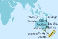 Visitando Sydney (Australia), Melbourne (Australia), Milfjord Sound (Nueva Zelanda), Doubtful Sound (Nueva Zelanda), Dusky Sound (Nueva Zelanda), Dunedin (Nueva Zelanda), Christchurch (Nueva Zelanda), Wellington (Nueva Zelanda), Bay of Islands (Nueva Zelanda), Tauranga (Nueva Zelanda), Auckland (Nueva Zelanda)