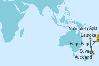 Visitando Auckland (Nueva Zelanda), Suva (Fiyi), Lautoka (Fiyi), Apia (Samoa), Pago Pago (Samoa), Nukualofa (Tongatapu), Auckland (Nueva Zelanda)