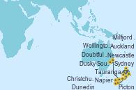 Visitando Auckland (Nueva Zelanda), Tauranga (Nueva Zelanda), Napier (Nueva Zelanda), Picton (Australia), Wellington (Nueva Zelanda), Christchurch (Nueva Zelanda), Dunedin (Nueva Zelanda), Dusky Sound (Nueva Zelanda), Doubtful Sound (Nueva Zelanda), Milfjord Sound (Nueva Zelanda), Newcastle (Australia), Sydney (Australia)