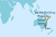 Visitando Sydney (Australia), Eden (Nueva Gales), Whitsunday Island (Australia), Cairns (Australia), Port Douglas (Australia), Isla Willis (Australia), Sydney (Australia)