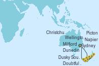 Visitando Sydney (Australia), Milfjord Sound (Nueva Zelanda), Doubtful Sound (Nueva Zelanda), Dusky Sound (Nueva Zelanda), Dunedin (Nueva Zelanda), Wellington (Nueva Zelanda), Christchurch (Nueva Zelanda), Napier (Nueva Zelanda), Picton (Australia), Sydney (Australia)
