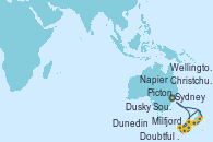 Visitando Sydney (Australia), Milfjord Sound (Nueva Zelanda), Doubtful Sound (Nueva Zelanda), Dusky Sound (Nueva Zelanda), Dunedin (Nueva Zelanda), Christchurch (Nueva Zelanda), Picton (Australia), Napier (Nueva Zelanda), Wellington (Nueva Zelanda), Sydney (Australia)