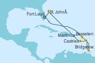 Visitando Fort Lauderdale (Florida/EEUU), Basseterre (Antillas), Bridgetown (Barbados), Castries (Santa Lucía/Caribe), Martinica (Antillas), St. John´s (Antigua y Barbuda), Fort Lauderdale (Florida/EEUU)