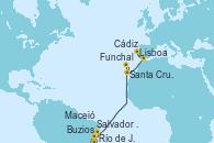 Visitando Río de Janeiro (Brasil), Buzios (Brasil), Salvador de Bahía (Brasil), Maceió (Brasil), Funchal (Madeira), Santa Cruz de Tenerife (España), Cádiz (España), Lisboa (Portugal)