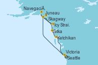 Visitando Seattle (Washington/EEUU), Juneau (Alaska), Icy Strait Point (Alaska), Navegación por Glaciar Hubbard (Alaska), Skagway (Alaska), Sitka (Alaska), Ketchikan (Alaska), Victoria (Canadá), Seattle (Washington/EEUU)