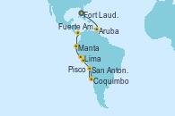 Visitando Fort Lauderdale (Florida/EEUU), Aruba (Antillas), Fuerte Amador (Panamá), Fuerte Amador (Panamá), Manta (Ecuador), Lima (Callao/Perú), Lima (Callao/Perú), Lima (Callao/Perú), Pisco (Perú), Coquimbo (Chile), San Antonio (Chile)