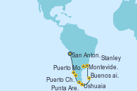 Visitando San Antonio (Chile), Puerto Montt (Chile), Puerto Chacabuco (Chile), Punta Arenas (Chile), Ushuaia (Argentina), Stanley (Malvinas), Montevideo (Uruguay), Buenos aires, Buenos aires