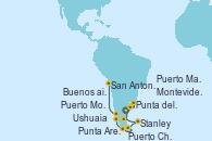 Visitando Buenos aires, Buenos aires, Montevideo (Uruguay), Punta del Este (Uruguay), Puerto Madryn (Argentina), Stanley (Malvinas), Ushuaia (Argentina), Punta Arenas (Chile), Puerto Chacabuco (Chile), Puerto Montt (Chile), San Antonio (Chile)