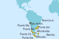 Visitando San Antonio (Chile), Puerto Montt (Chile), Puerto Chacabuco (Chile), Punta Arenas (Chile), Ushuaia (Argentina), Stanley (Malvinas), Puerto Madryn (Argentina), Punta del Este (Uruguay), Montevideo (Uruguay), Buenos aires, Buenos aires