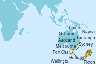 Visitando Auckland (Nueva Zelanda), Gisborne (Nueva Zelanda), Tauranga (Nueva Zelanda), Napier (Nueva Zelanda), Wellington (Nueva Zelanda), Picton (Australia), Timaru (Nueva Zelanda), Port Chalmers (Nueva Zelanda), Hobart (Australia), Melbourne (Australia), Sydney (Australia)