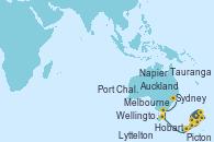 Visitando Auckland (Nueva Zelanda), Tauranga (Nueva Zelanda), Napier (Nueva Zelanda), Picton (Australia), Wellington (Nueva Zelanda), Lyttelton (Nueva Zelanda), Port Chalmers (Nueva Zelanda), Hobart (Australia), Melbourne (Australia), Sydney (Australia)