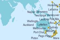 Visitando Auckland (Nueva Zelanda), Tauranga (Nueva Zelanda), Napier (Nueva Zelanda), Picton (Australia), Wellington (Nueva Zelanda), Lyttelton (Nueva Zelanda), Port Chalmers (Nueva Zelanda), Hobart (Australia), Melbourne (Australia), Sydney (Australia), Mare (Nueva Caledonia), Lifou (Isla Loyalty/Nueva Caledonia), Lautoka (Fiyi), Savusavu (Islas Fidji), Pago Pago (Samoa), Honolulu (Hawai), Honolulu (Hawai), Port Allen, Kauai, Hawaiian, Lahaina  (Hawai), Vancouver (Canadá)