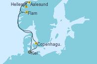 Visitando Kiel (Alemania), Copenhague (Dinamarca), Hellesylt (Noruega), Aalesund (Noruega), Flam (Noruega), Kiel (Alemania)