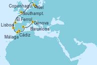 Visitando Kiel (Alemania), Copenhague (Dinamarca), Southampton (Inglaterra), El Ferrol (Galicia/España), Lisboa (Portugal), Cádiz (España), Málaga, Barcelona, Génova (Italia)