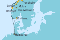 Visitando Hamburgo (Alemania), Aalesund (Noruega), Trondheim (Noruega), Molde (Noruega), Hellesylt (Noruega), Bergen (Noruega), Flam (Noruega), Kristiansand (Noruega), Hamburgo (Alemania), Hamburgo (Alemania)