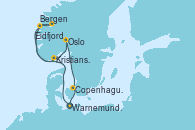 Visitando Warnemunde (Alemania), Bergen (Noruega), Eidfjord (Hardangerfjord/Noruega), Kristiansand (Noruega), Oslo (Noruega), Copenhague (Dinamarca), Warnemunde (Alemania)