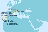 Visitando Málaga, Marsella (Francia), Génova (Italia), Barcelona, Casablanca (Marruecos), Santa Cruz de Tenerife (España), Funchal (Madeira), Málaga