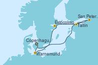 Visitando Copenhague (Dinamarca), Warnemunde (Alemania), San Petersburgo (Rusia), Tallin (Estonia), Estocolmo (Suecia), Copenhague (Dinamarca)