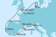 Visitando Kiel (Alemania), Le Havre (Francia), Southampton (Inglaterra), La Coruña (Galicia/España), Lisboa (Portugal), Alicante (España), Barcelona, Marsella (Francia), Génova (Italia)