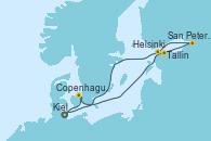 Visitando Kiel (Alemania), Copenhague (Dinamarca), Tallin (Estonia), San Petersburgo (Rusia), Helsinki (Finlandia), Kiel (Alemania)