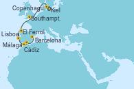 Visitando Kiel (Alemania), Copenhague (Dinamarca), Southampton (Inglaterra), El Ferrol (Galicia/España), Lisboa (Portugal), Cádiz (España), Málaga, Barcelona