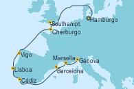 Visitando Hamburgo (Alemania), Southampton (Inglaterra), Cherburgo (Francia), Vigo (España), Lisboa (Portugal), Cádiz (España), Barcelona, Marsella (Francia), Génova (Italia)