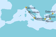 Visitando Civitavecchia (Roma), Génova (Italia), Kusadasi (Efeso/Turquía), Estambul (Turquía), Estambul (Turquía), Atenas (Grecia), Palermo (Italia), Civitavecchia (Roma)