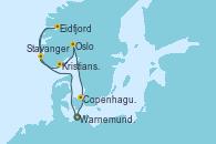 Visitando Warnemunde (Alemania), Stavanger (Noruega), Eidfjord (Hardangerfjord/Noruega), Kristiansand (Noruega), Oslo (Noruega), Copenhague (Dinamarca), Warnemunde (Alemania)