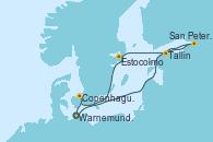 Visitando Warnemunde (Alemania), San Petersburgo (Rusia), Tallin (Estonia), Estocolmo (Suecia), Copenhague (Dinamarca), Warnemunde (Alemania)